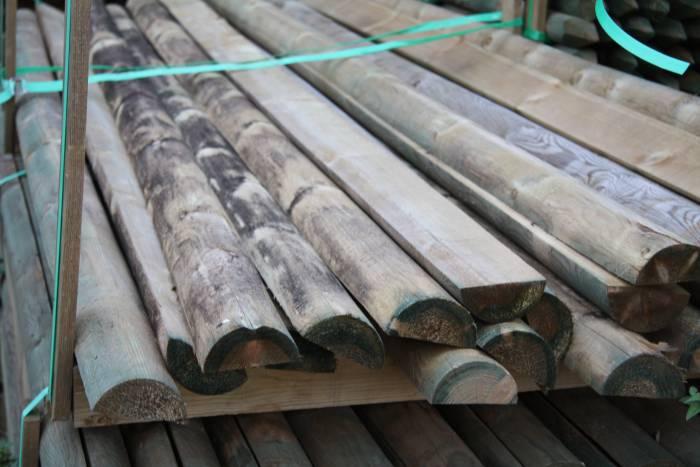 70 mm Kiefer/Fichte-Halbholzriegel zylindrisch gefräst, KDI Länge 2,50 m_1