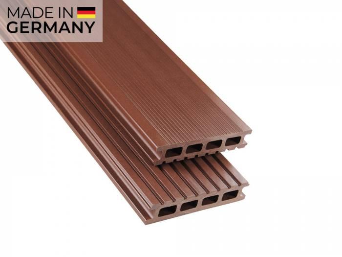 26x145 mm Kovalex® Standard WPC Braun, ungebürstet, Hohlkammerprofil Längen:1,00 bis 6,00m, Profil: grob/fein_1