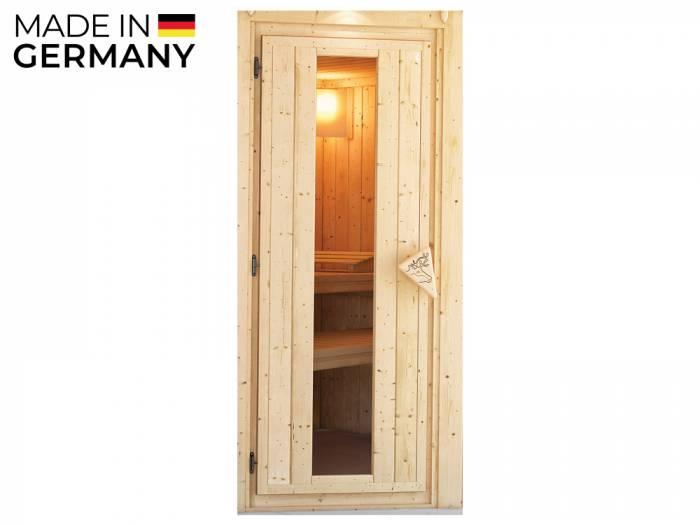 KARIBU Saunatür Variante 1, Holztür mit Isolierglas, links / rechts verwendbar Durchgang 640 x 1730 mm, Rahmen 38/40 mm_1