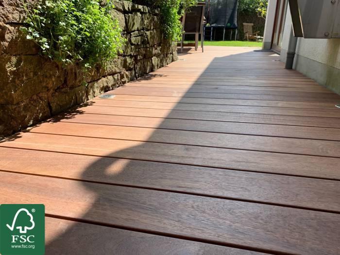 Guyana Teak (Basralocus) FSC 100% Terrassendielen, 25x140 mm, KD, glatt/glatt_1