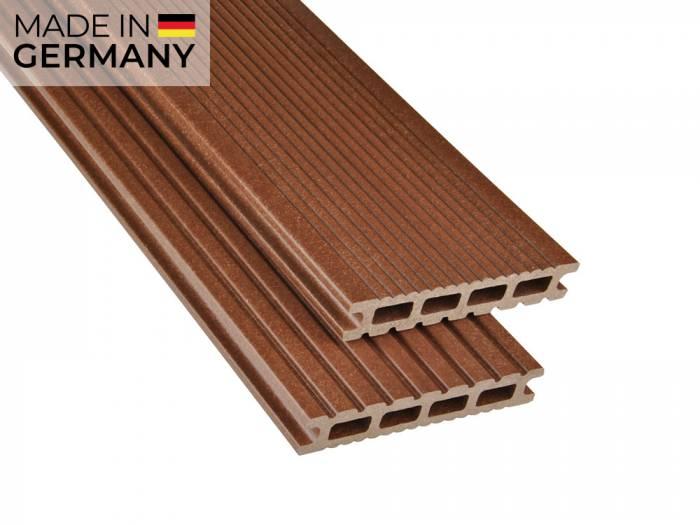 26x145 mm Kovalex® Exklusiv WPC Braun, mattiert, Hohlkammerprofil Längen:1,00 bis 6,00m, Profil: grob/fein_1